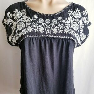 Hollister Embroidered Boho Hippie Top Size Small